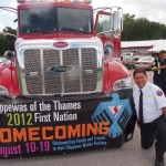 Leading the Homecoming 2012 parade is the nation's fire truck