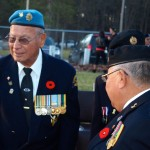 Martin McGahey Sr. and Arnold Albert, greeting veterans at Remembrance day activities in Chippewa